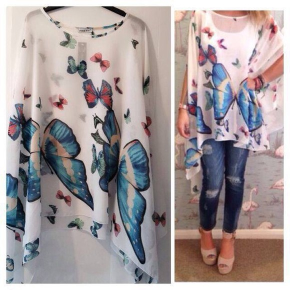 red butterfly blue top loose fitting baggy butterflies white nature print summer outfits