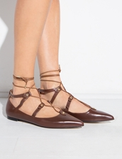 shoes,brown lace up pointy flats,pointy flats,pixiemarlet,brown lace up flats,lace up pointy flats,brown flats,lace-up shoes,lace up flats