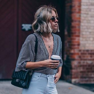 top tumblr three-quarter sleeves stripes striped top v neck plunge v neck necklace silver necklace jewelry silver jewelry bag black bag denim jeans sunglasses round sunglasses