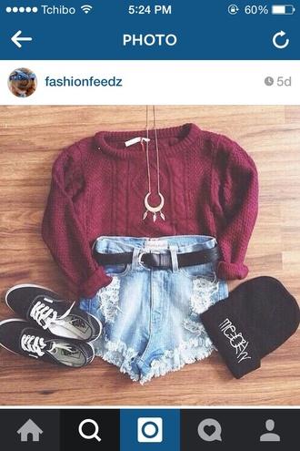 shirt cardigan shorts vans half moon jewels hat sweater gloves shoes