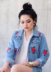jacket,jeaans,denim,blue,summer,floral,roses,spring,cute,long sleeves,embroidered,girly,fashion,style,red,cool,pockets,trendy,girl,beautifulhalo