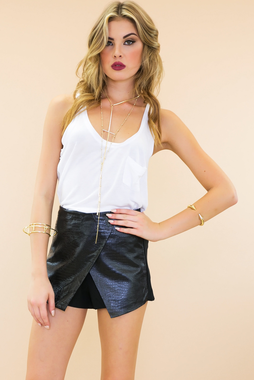 Alligator skin envelope wrap leather skort