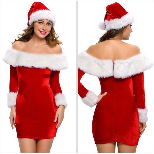 dress christmas dresses christmas christmas dress red christmas dress faux fur bodycon dress hat christmas hat fur dress sexy dress - Red Christmas Dresses