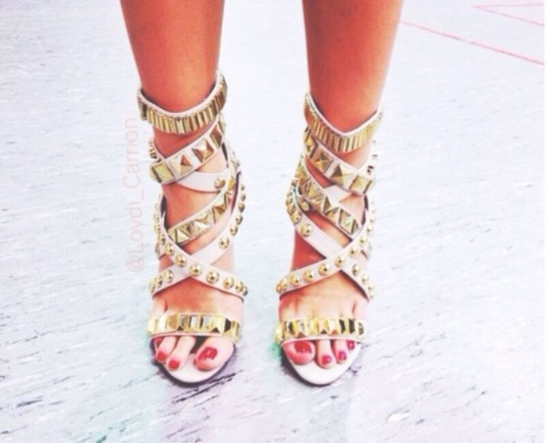 shoes high heels studded gladiators