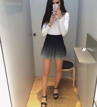 skirt black to white grey ombre ombré grey ombré black black to white ombré ruffle mini mini skirt high waisted skirt plead skirt black skirt black white skirt