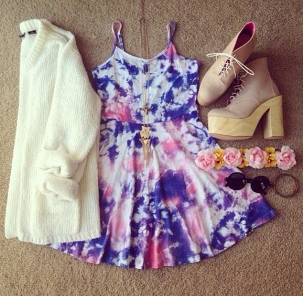 dress blouse shoes jewels sweater tie dye summer cute cardigan floral