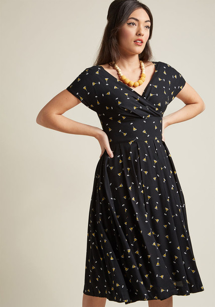 GBD-0189VR dress midi dress black midi dress midi classic print black