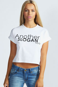 "Ashley ""Another Slogan Tee"" Crop Top at boohoo.com"