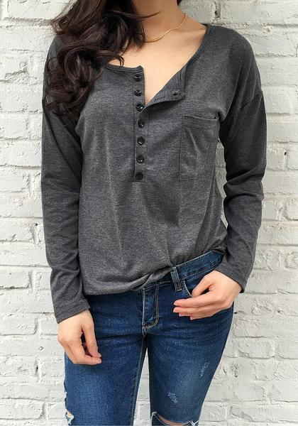 Dark Grey Loose V Neck Tee