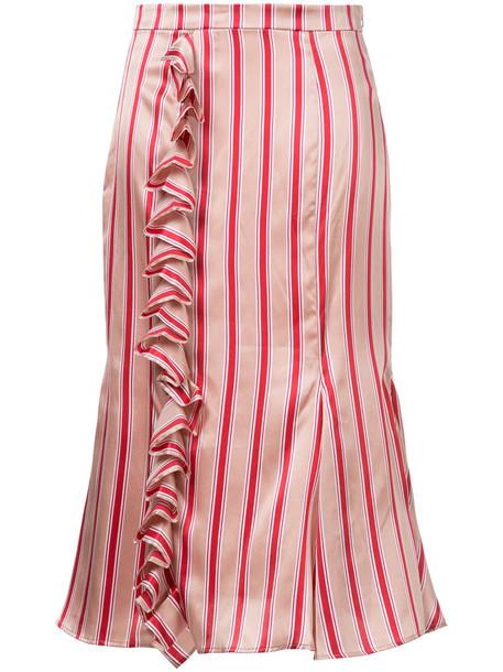 skirt striped skirt women silk red