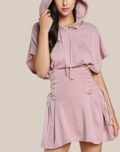 dress,girly,pink,muave pink,hoodie,Hooded dress,corset dress,corset belt