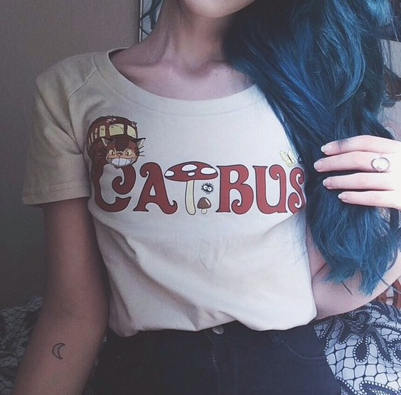 hipster shirt vintage t-shirt cute cat bus alice and wonderland sweater alice and wonderland sweatshirt cat shirt mushrooms quirky adorable blue hair oval oval ring