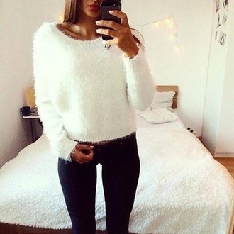 sweater white soft pullover weheartit ootd