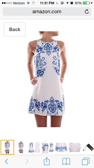 dress white blue sleeveless short flowers white dress