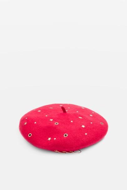 Topshop studded beret red hat
