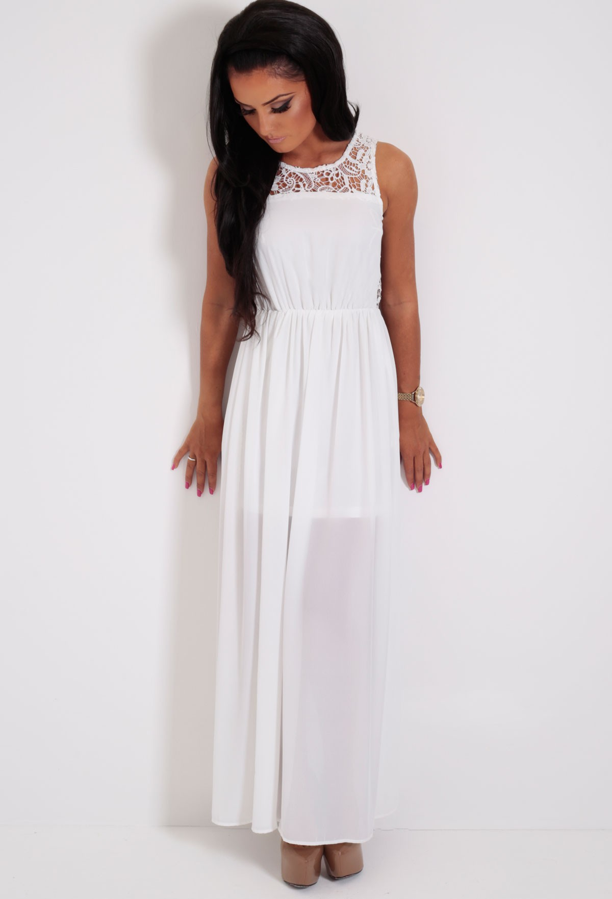 Day Dream White Lace Back Maxi Dress | Pink Boutique