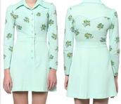 dress,mint,floral,button up,collared dress