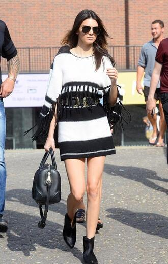 dress fringes kendall jenner sunglasses ankle boots belt fringe sweater