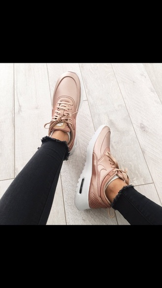 shoes rose gold tennis shoes cute hot exercise outfit cute shoes style trendy