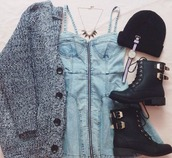 sweater,grey sweater,dress,cute dress,short dress,short,denim dress,cardigan,knitted cardigan,statement necklace,statement,statement jewelry,watch,beanie,ankle boots,boots,ankle strap heels,ankleboots,outfit idea,fashion inspo,blogger,popular dresses,fashionista,chill,rad,casual,on point clothing,hat,jewels,shoes,blouse