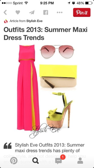dress pink dress pink skirt pink maxi dress yellow dress yellow bright colorful dress colorful heels summer dress summer summer outfits summer maxi beach dress beach chic sexy dress style fashion spring hat sunglasses rayban shoes high heels purse slit dress slit skirt