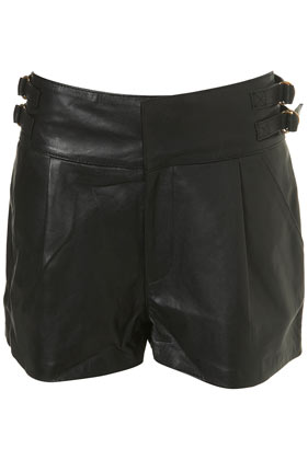 Leather buckle shorts