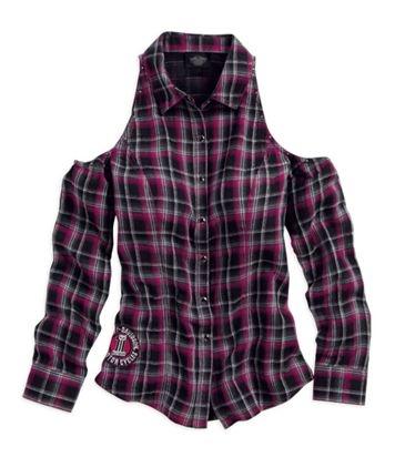 Davidson® womens cutout shoulder snap front plaid long sleeve shirt