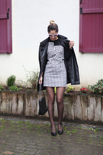 from brussels with love blogger dress bag shoes tights coat black coat black bag mini dress black and white dress high heel pumps