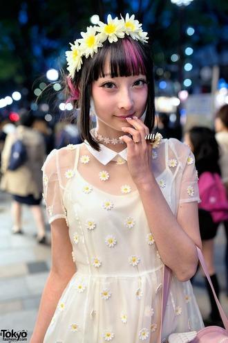 daisy dress kawaii pastel white white dress jewels choker necklace japanese sunflower kawaii dress cute cute dress flowers lolita lolita dress harajuku japan manga asian korean fashion