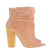 shoes,boots,suede,peep toe heels,heels,nude,beige,free vibrationz