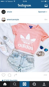 shorts,shirt,adidas,pink,addidas shirt,sunglasses,top,denim,white,blue,blue jean shorts,denim shorts,studded,adidas shirt,adidas shoes,acid wash,white top,crop tops,shoes,jewels,addidas superstars,blouse,t-shirt,crop top adidas,pink peach,pink and white,new,pretty,girly