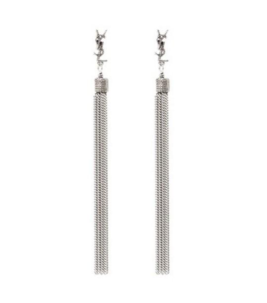 Saint Laurent LouLou chain tassel earrings in silver