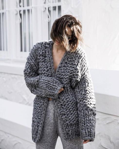 ac36a86d6e cardigan chunky knit tumblr grey cardigan knitwear knitted cardigan pants  grey pants oversized cardigan oversized