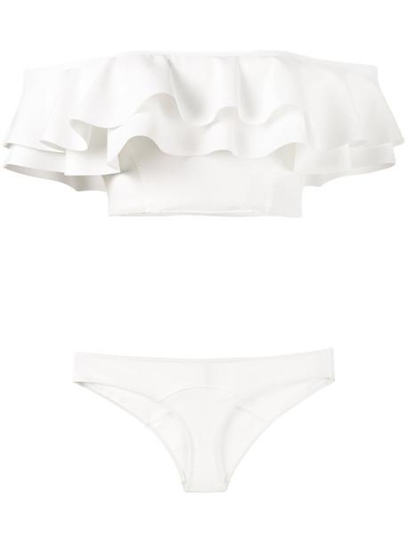 Lisa Marie Fernandez bikini ruffle bandeau bikini bandeau bikini ruffle women spandex white swimwear