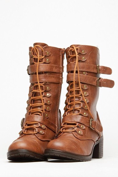 boots leather lace up faux leather chesnut boots chunky boots mid calf boots