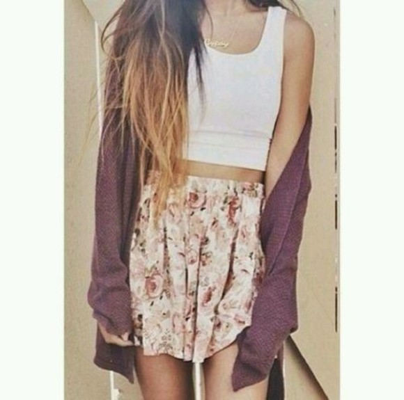 skirt tank top floral sweater white floral skirt crop tops white top top jewelry vest dark red