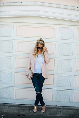 whiskey and lace by erika altes - blogger jacket t-shirt bag shoes sunglasses ripped jeans blue jeans white t-shirt pink blazer blazer clutch black sunglasses nude sandals mid heel sandals