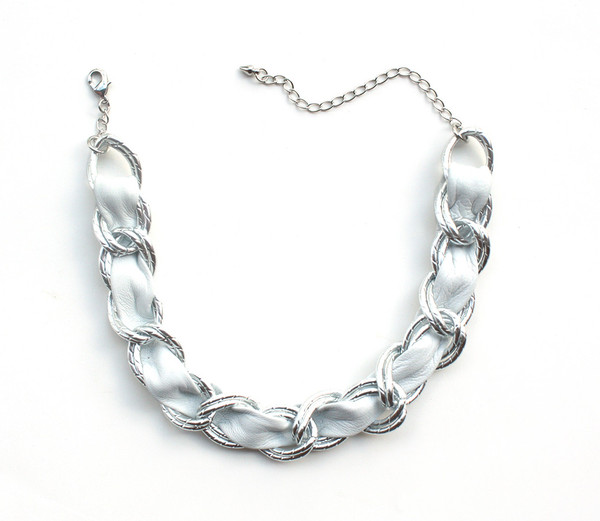 White woven leather and chain choker necklace
