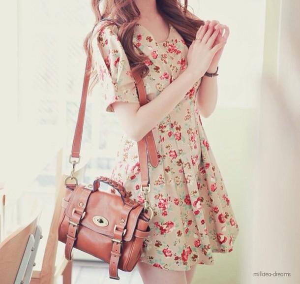 dress floral floral dress cute bag