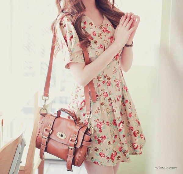 dress floral floral dress cute bag