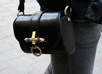 bag black bag with gold details black bag handbag sidebag