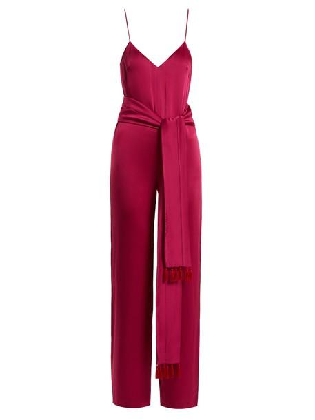 Galvan jumpsuit tassel embellished satin pink
