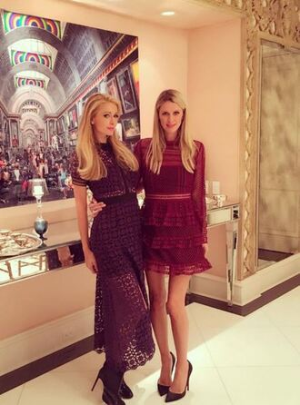 dress mesh see through lace dress paris hilton nicky hilton pumps instagram