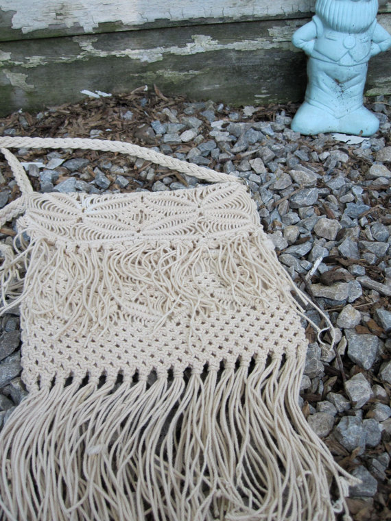 70s Vintage Ivory Macarame Bag by shopjujus on Etsy