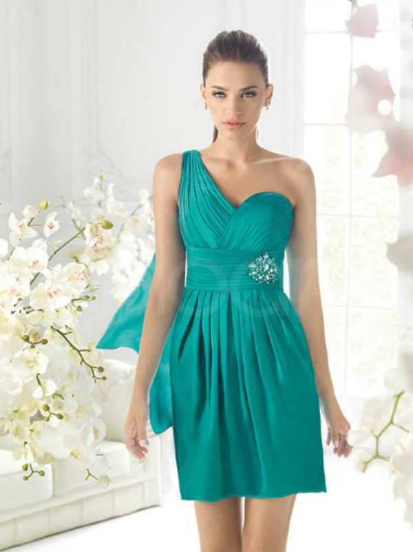 dress for prom occasion one- shoulder neckline and natural waistline have rhinestones