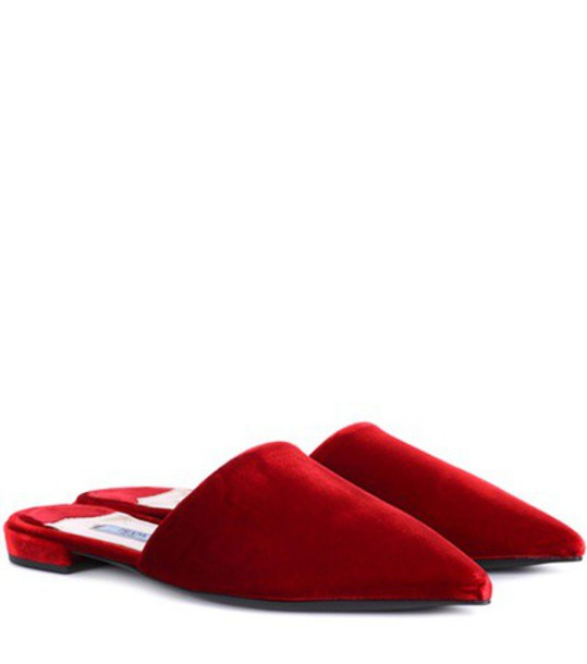 slippers velvet red shoes