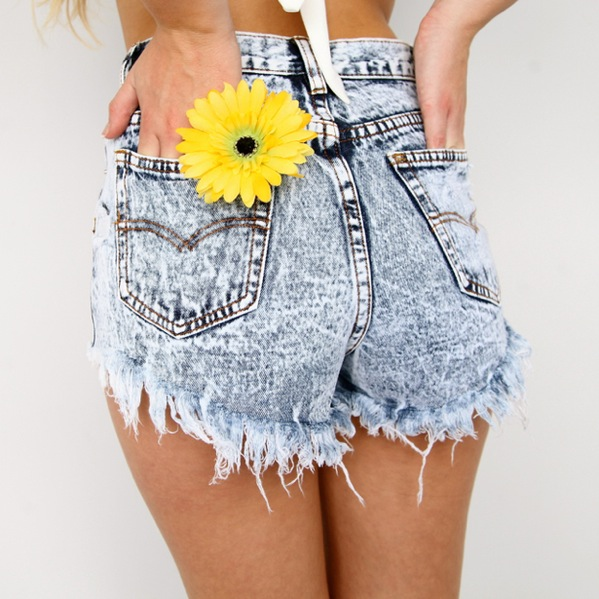 FESTIVAL HIGH WAISTED BLUE RIPPED ACID WASHED DENIM CUT OFFS SHORTS 6 8 10 12