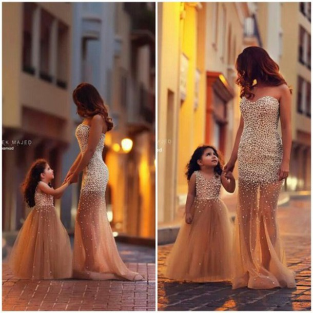 Evening Dress Mother And Child Pearls Dress Beaded Dress Flower