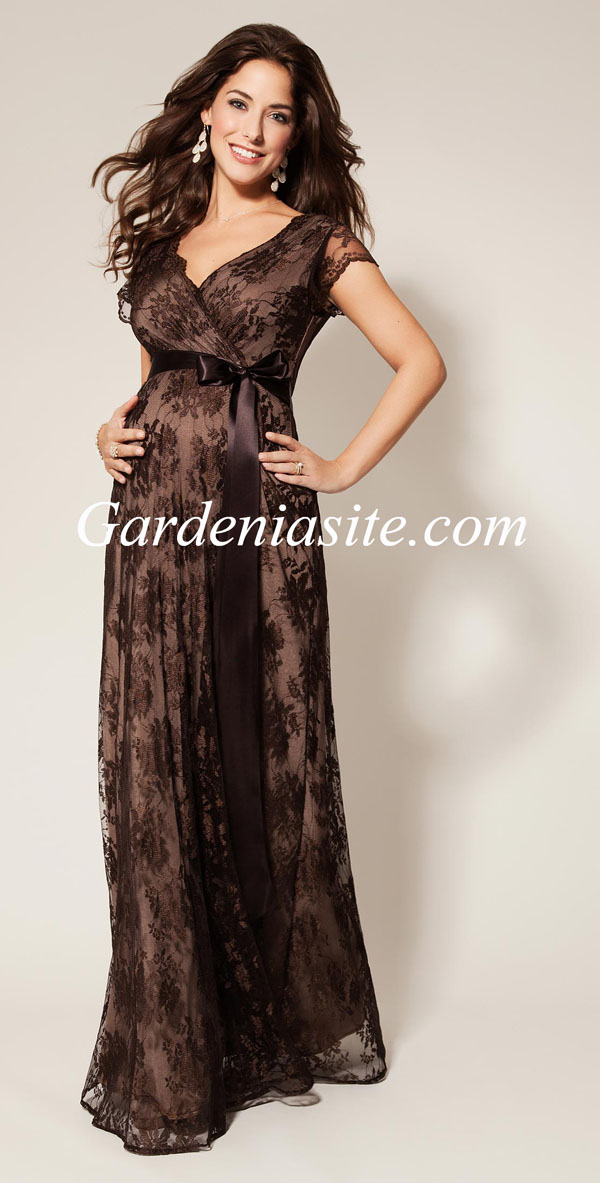 A Line V-neck Floor Length Bow Sashes/Ribbons Lace Maternity Evening Dress 2014 - Gardeniasite