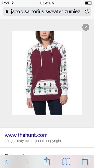 sweater jacket color/pattern colorful hoodie aztec jumper burgundy aztec sweater